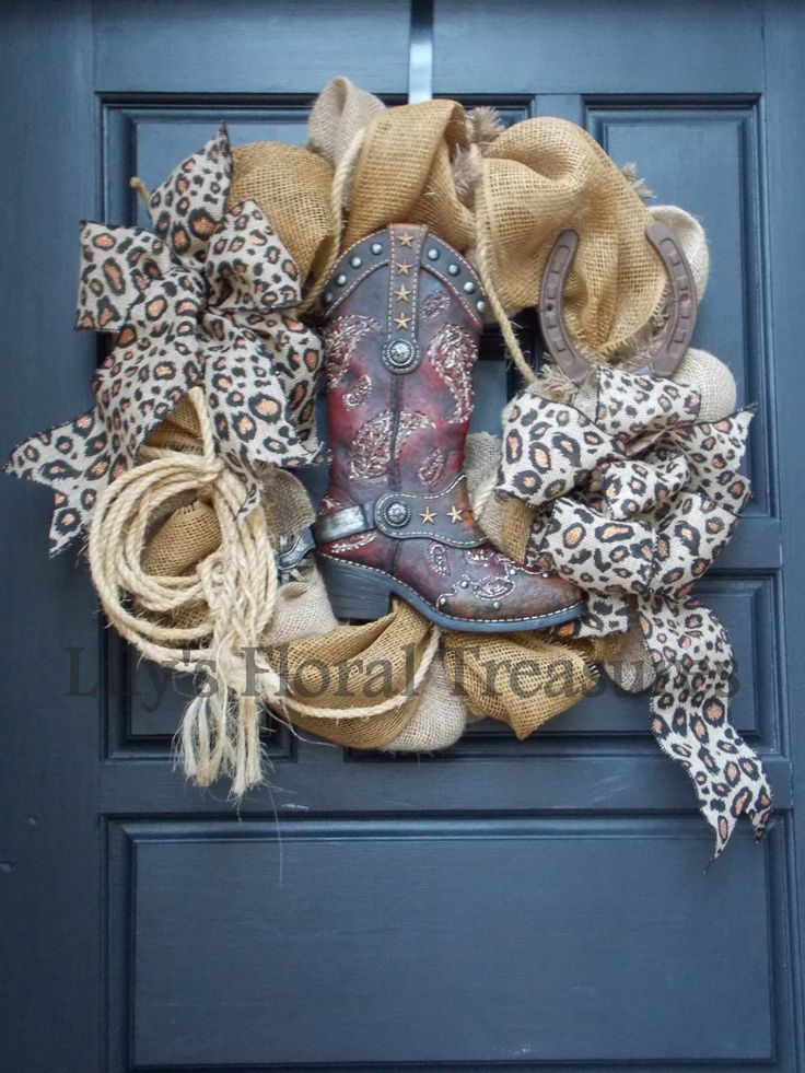 Cowboy Boot Burlap Wreath w/ Leopard Print Bows (image only)