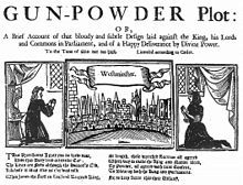 "Jan 31, 1606 Three illustrations in a horizontal alignment.  The leftmost shows a woman praying, in a room.  The rightmost shows a similar scene.  The centre image shows a horizon filled with buildings, from across a river.  The caption reads ""Westminster"".  At the top of the image, ""The Gunpowder Plot"" begins a short description of the document's contents."