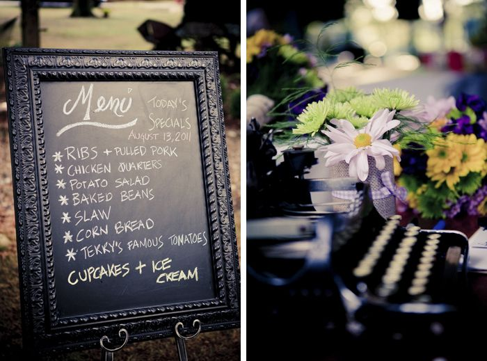 Menu On Black Framed Chalk Board