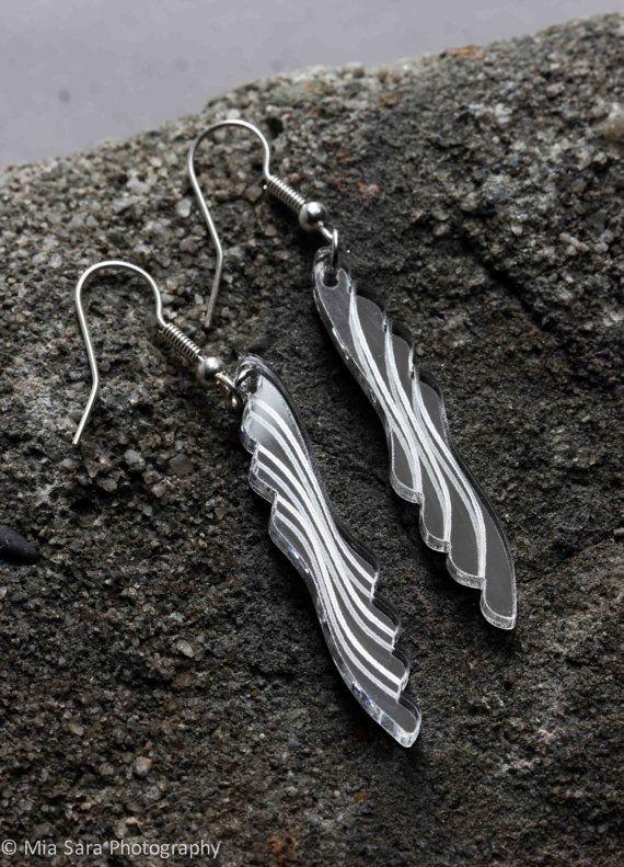 Silver mirror laser cut earings by Deccoangel on Etsy, $20.00