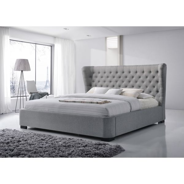Manchester King-Size Tufted Wing Upholstered GreyPlatform Bed