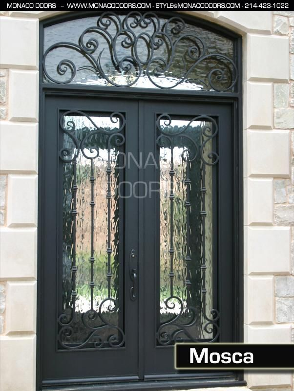 Monaco Doors Name: Mosca Finish: Satin Black Glass: Flemish Size: 6' x 8' Door / 6' x 2' Transom Style: Square Door, Eyebrow Transom