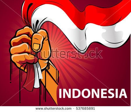 Vector illustration, hand holding a red and white Indonesian flag.