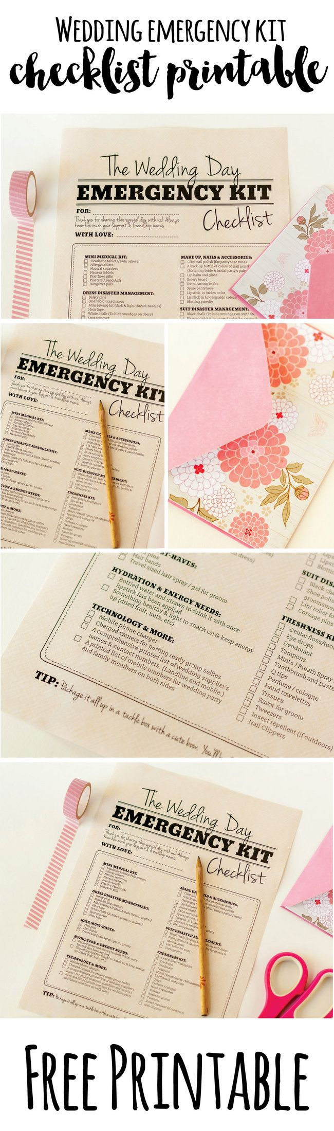 Download and print this handy Wedding Day Survival Kit with must have items for bridesmaids and groomsmen. Best part? It's free! http://www.confettidaydreams.com/wedding-day-emergency-kit-checklist/