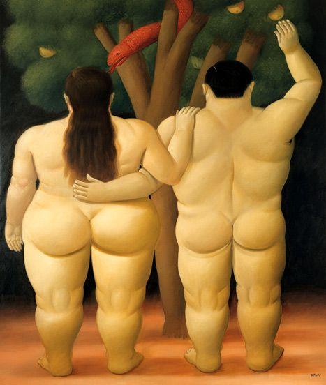 Botero exhibit. Fernando Botero, Adan y Eva, 1998