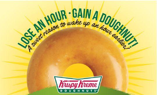 Krispy Kreme will be giving away FREE original glazed doughnuts on March 9, 2014 in celebration of Daylight Savings Time.
