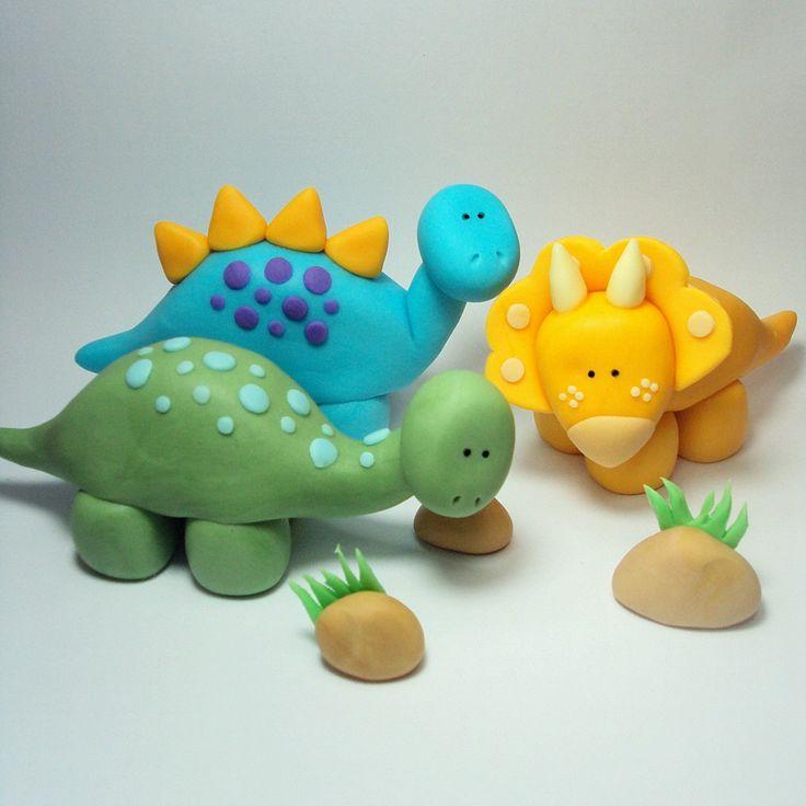 Dinosaur Trio Cake Topper Set for Dinosaur by SweetTouchDecor, $23.00