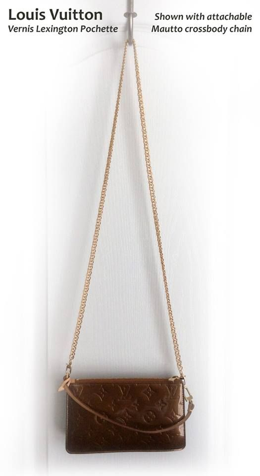675892062ed5 This LV Pochette was converted to a cross body bag with our gold  double-curb attachable chain!