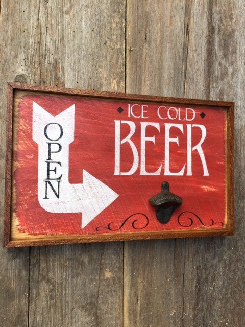 Handmade Wood Sign, Beer Sign, Pub Signs, Bottle Opener, Open Sign, Custom Wood…