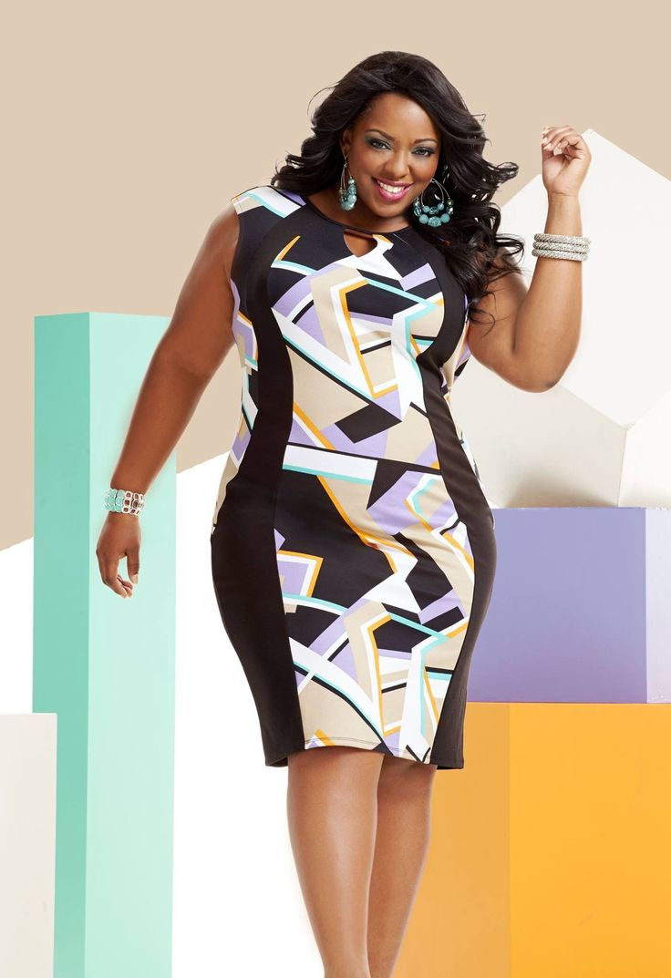 Plus size abstract slimming panel dress #UNIQUE_WOMENS_FASHION