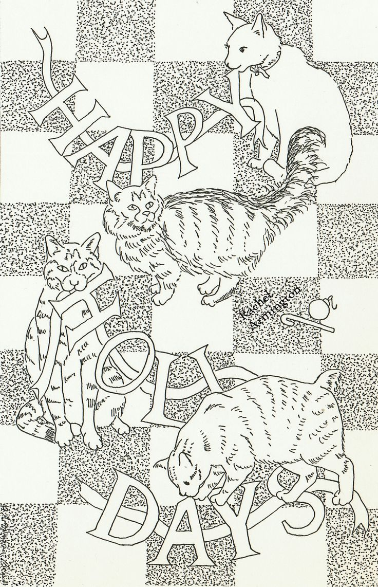 free coloring page christmas cat coloring sheet from 1993 card by rachel armington from the maine coonmanxchristmas