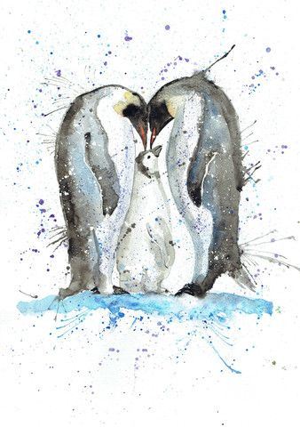 """Happy"" penguin family A3 print"