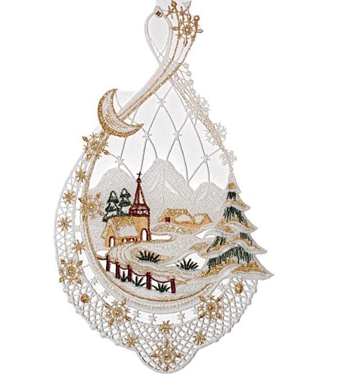 Fensterbild 20x33 cm PLAUENER SPITZE ® Weihnachten weiß gold Winterlandschaft in Möbel & Wohnen, Rollos, Gardinen & Vorhänge, Gardinen & Vorhänge | eBay!