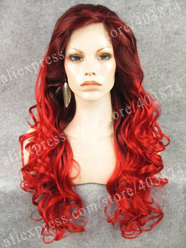(49.00$)  Watch here  - New Arrival Beautiful Leila Wig Long Wavy Red Two Tone Beyonce Hairstyle Synthetic Lace Front Wig