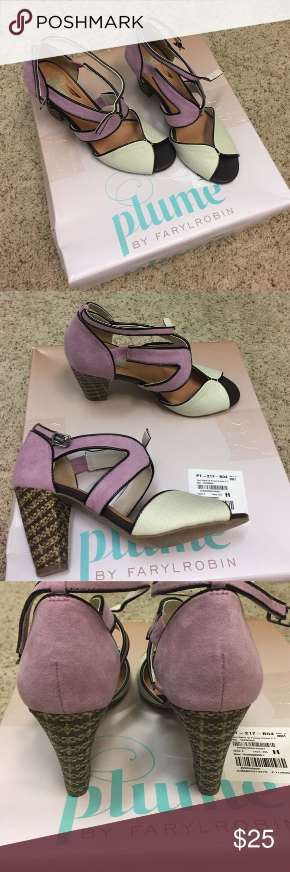 Plume by Farylrobin Sadie Cream Pumps 6.5 These strappy shoes pair an 80s' peep toe with a 1920s'-style ankle buckle with a unique and modern color palette. Featuring mauve, soft brown and cream tones. 6.5 NWT Never worn in original box. Farylrobin Shoes Sandals