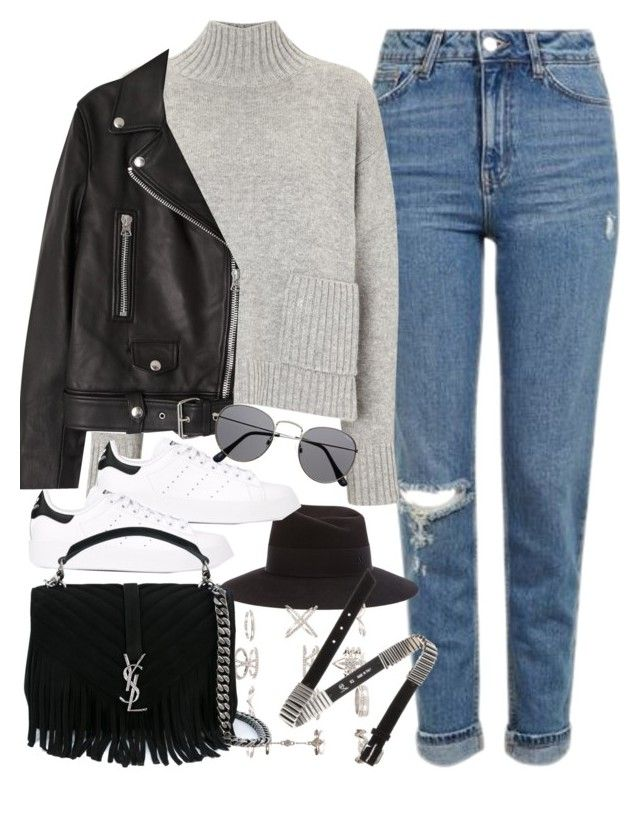 """Outfit with mom jeans"" by ferned ❤ liked on Polyvore featuring Topshop, Frame Denim, Maison Michel, Acne Studios, adidas Originals, New Look, Yves Saint Laurent and McQ by Alexander McQueen"