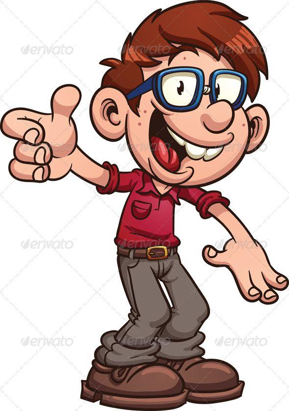 Cartoon Characters Glasses : Nerdy kid boy cartoon character cute glasses