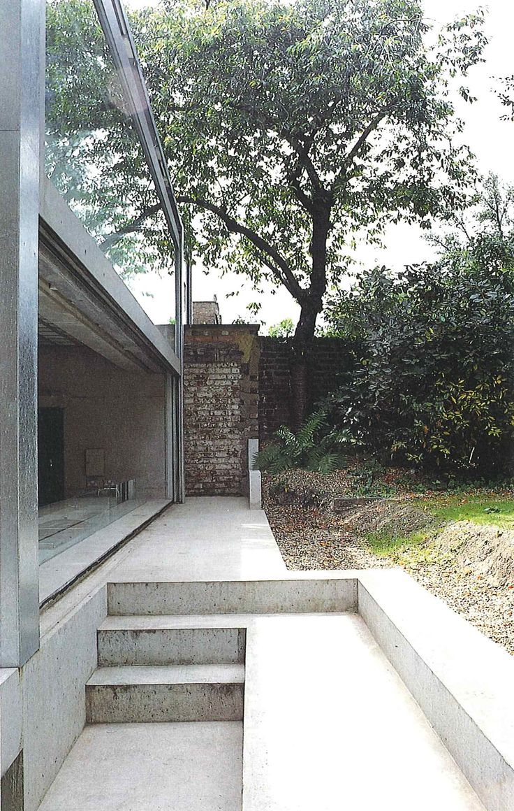 David Adjaye concrete garden stairs and kitchen window