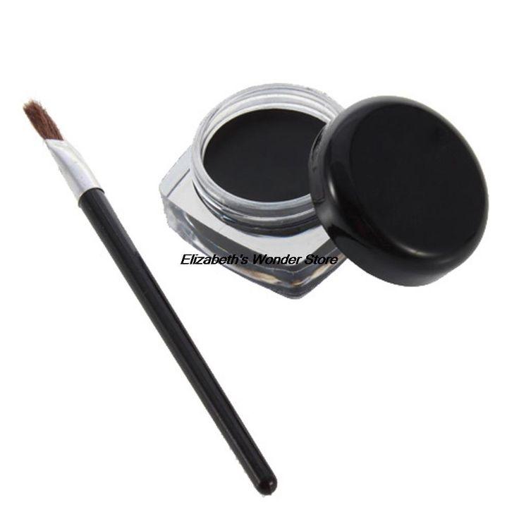新しい化粧防水アイライナーペンシルメイクアップ黒液体アイライナーシャドージェルメイクアップ化粧+ブラシ黒