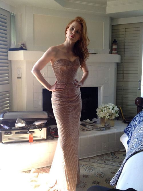 dress up jessica rabbit nude - Jessica Chastain at a fitting for her dress the day before the Oscars · Nude  DressJessica RabbitJessica ...