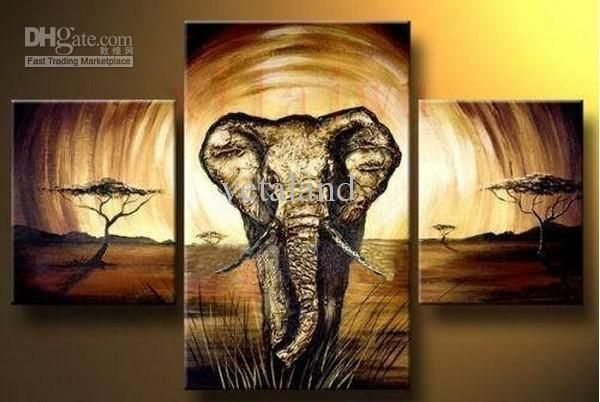 Wholesale Picture Wall - Buy Hand Made Large Framed 3 Panel Elephant Acrylic Oil Painting Set of 3 Piece Canvas Wall Art 9092.