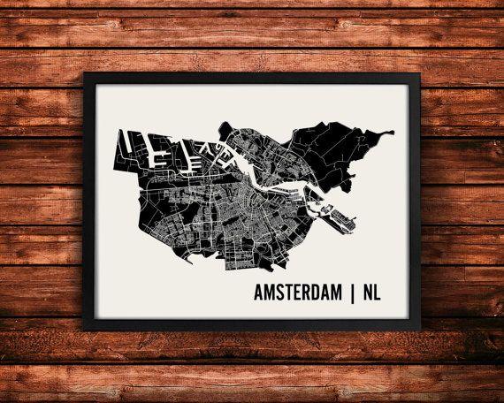 Amsterdam Karte Kunstdruck | Amsterdam-Print | Amsterdam-Kunstdruck | Amsterdam-Poster | Amsterdam-Geschenk | Wandkunst