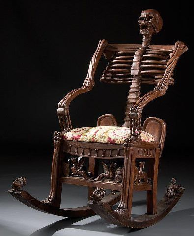 Interesting Chair Skeleton Rocking Chair Carved Wood Russia 19th