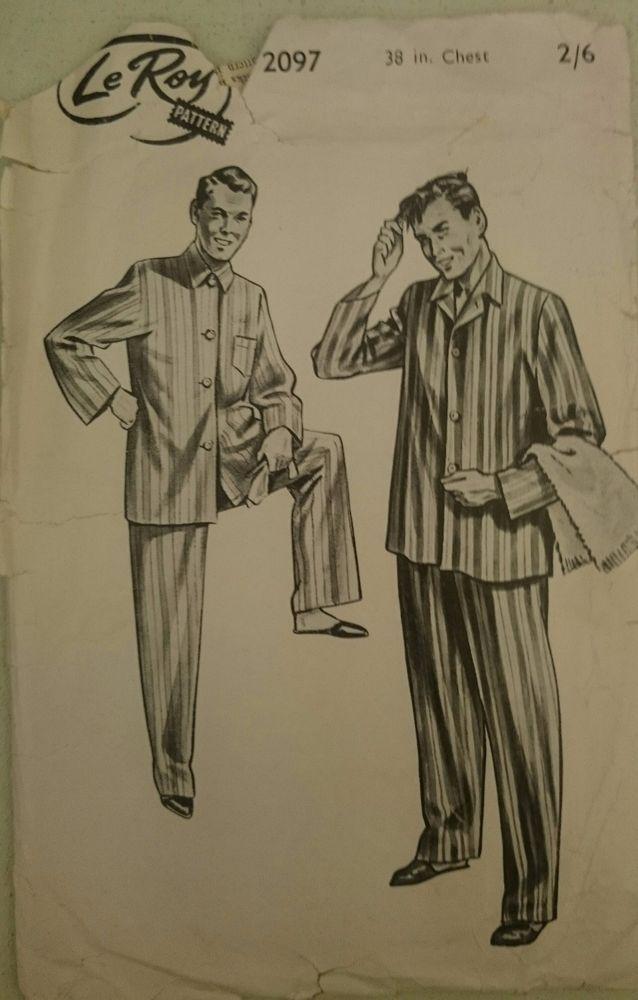 Vintage 1950s Sewing Pattern Le Roy Weldons 2097 Men s Tailored Pyjamas 38