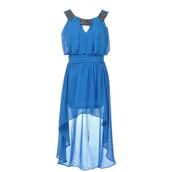 Amazon.com: Anna-Kaci S/M Fit Electric Blue Roman Empire Goddess... ($26) ❤ liked on Polyvore featuring dresses, electric blue dress, royal blue hi low dress, mullet dress, high low dresses and blue high low dress