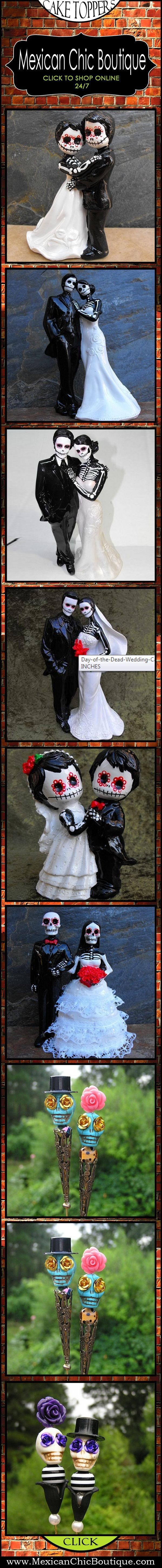 Day of the Dead | Wedding Cake Topper | Wedding | Cake Topper | Skull | Dia de los Muertos | Skeleton Figurines | Mexican Decorations | Mexican Art | Mexican Folk Art ♥ http://www.mexicanchicboutique.com/p/skulls.html