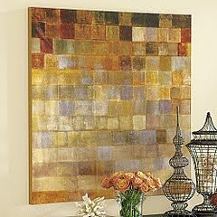 Paint Chip Wall Art - Wood base - paint chips cut to a square shape - spray adhesive onto board - 3 layers of mod podge - wipe off dark stain - final layer of half/half gold glimmer paint & mod podge