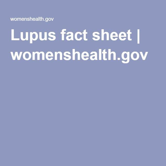 Lupus fact sheet | womenshealth.gov
