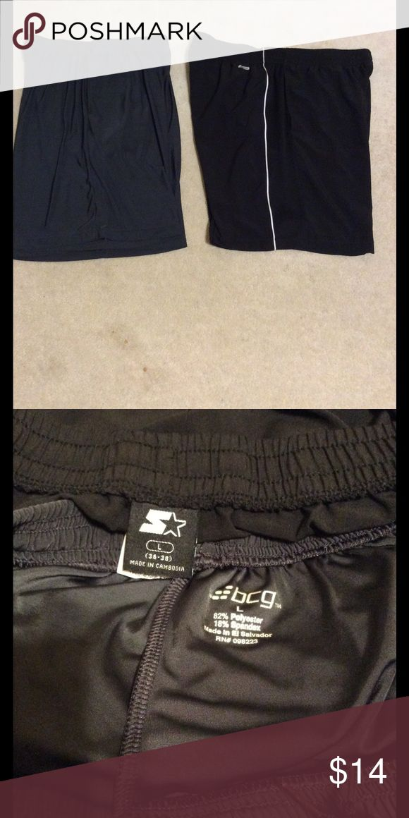 Bundle of 2 pair men's workout shorts - NWOT In perfect condition, both pair feature elastic & drawstring waistband & side pockets.  The BCG brand dark gray pair are 82% polyester 18% spandex & the Starter black pair are 93% polyester 7% spandex.  Both are men's large or 36-38 waist. BCG & Starter Shorts Athletic