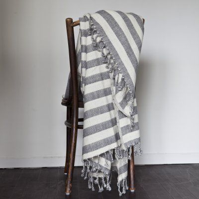 Wool blanket stripe grey