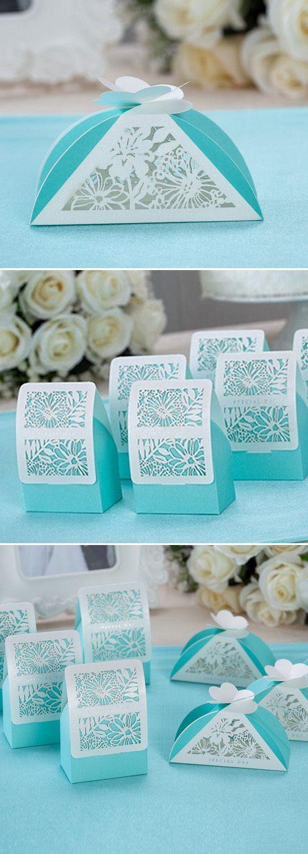 "tiffany blue themed laser cut elegant wedding favor boxes// Use coupon code ""CVB"" to get 10% off towards all the invitations. #elegantweddinginvites"