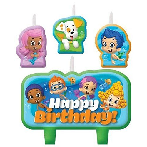 Bubble Guppies Birthday Candle Set Cake Toppers Decorations Party Supplies Favor Gift. Decorative Bubble Guppies Birthday. Molded Cake Candle Set 4 pieces. Add a cute touch to your kid's birthday decorations with our Bubble Guppies Candles. This 4 pieces cake toppers features a large happy birthday pick and 3 smaller character designs. Make your kid's birthday cake a dream come true with these cake decorations.