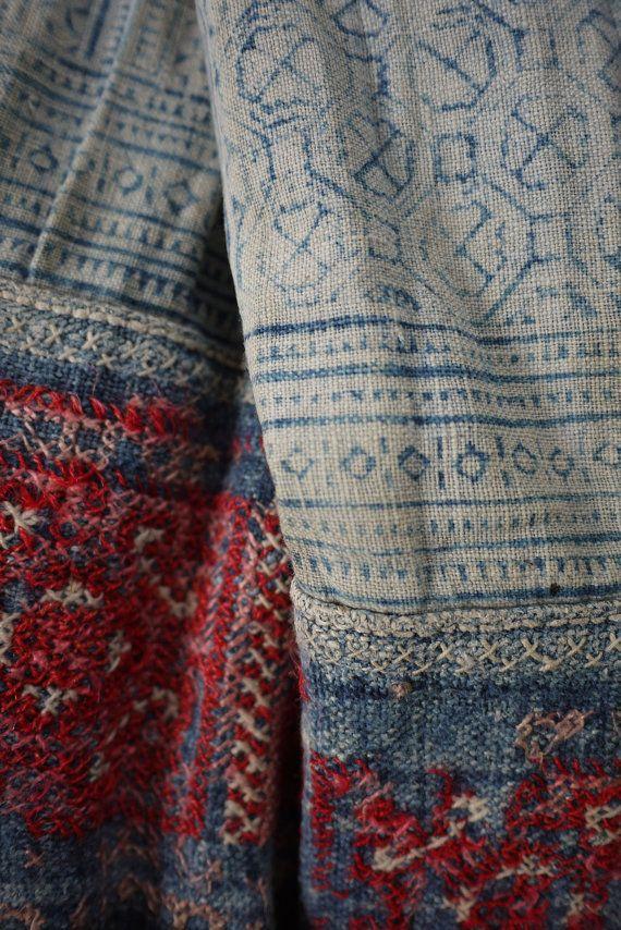 RESERVED 100% handwoven tribal hemp, indigo blue  - hilltribe Hmong indigo batik hemp cross stitch embroidery, antique textile fabric