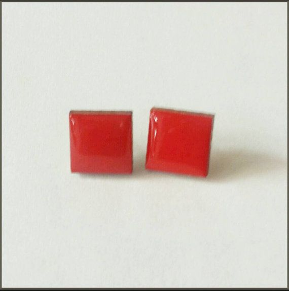 Check out this item in my Etsy shop https://www.etsy.com/listing/229939838/wood-stud-earrings-red