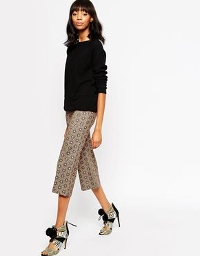 ASOS AFRICA Cropped Kickflare Trousers In Geo Tile Print