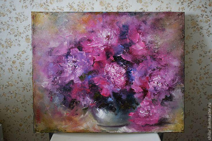 """Купить """"Пионы"""" картина маслом - розовый, пионы в вазе, пионы розовые, масло на холсте"""