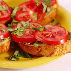 Tomato, basil, marjoram, and garlic Bruschetta | Marjoram | Pinterest ...