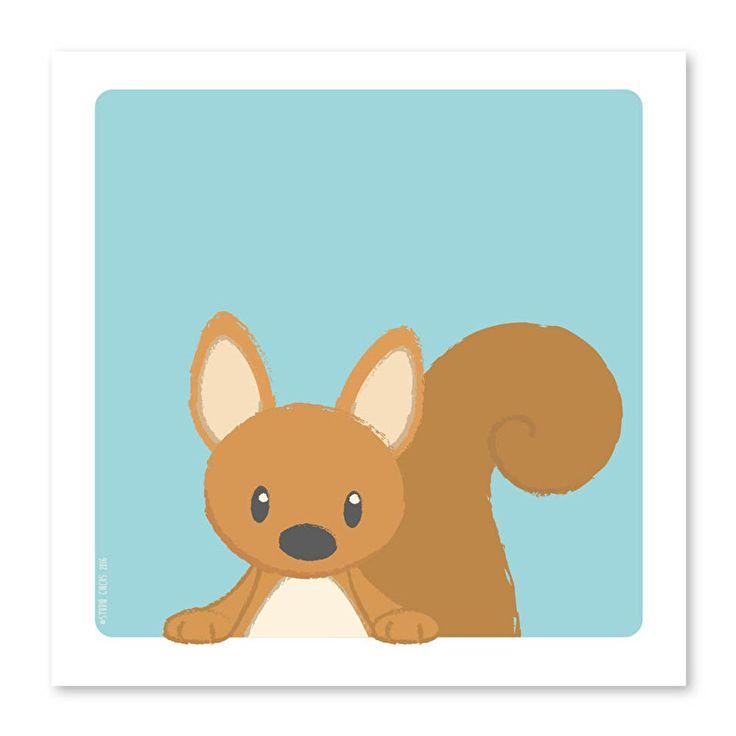 Poster Eekhoorn 21 x 21 cm Is deze kleine eekhoorn niet de allerschattigste die je ooit hebt gezien? Hang aan de muur in een lijstje of plak op met trendy washitape, daar word je toch helemaal vrolijk van! Ook leuk om op te hangen met een A4 posterhouder of op een klembord.