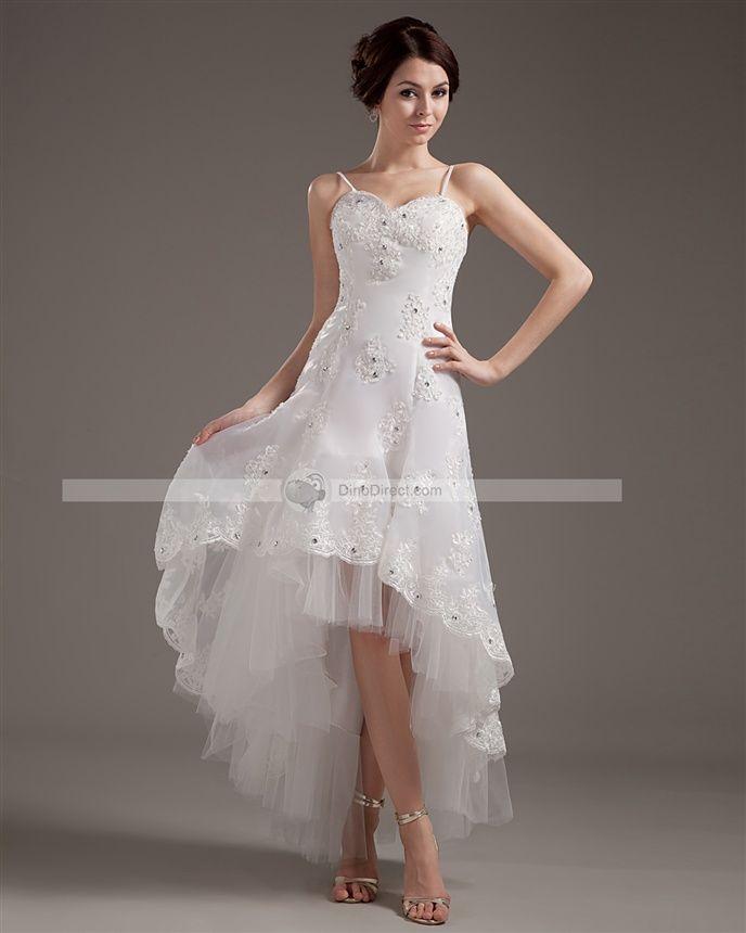 Shop Amylinda Short Front Long Back Lace Gauze Pattern Applique Mini Wedding Dresses Free Shipping