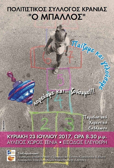 """Eτήσια παραδοσιακή χορευτική εκδήλωση του Πολιτιστικού Συλλόγου Κρανιάς """"Ο ΜΠΑΛΛΟΣ"""""""