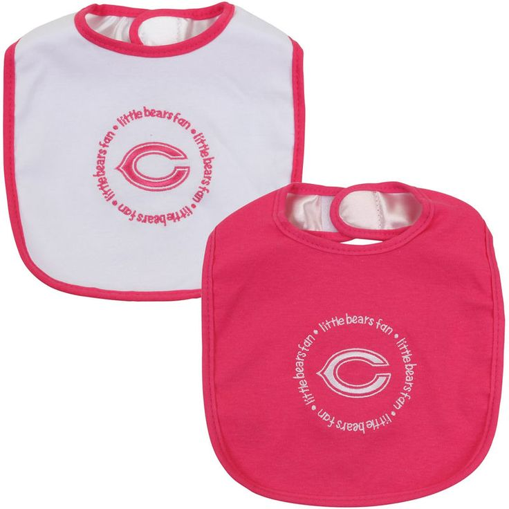 Infant Chicago Bears Pink/White 2-Pack Baby Bibs