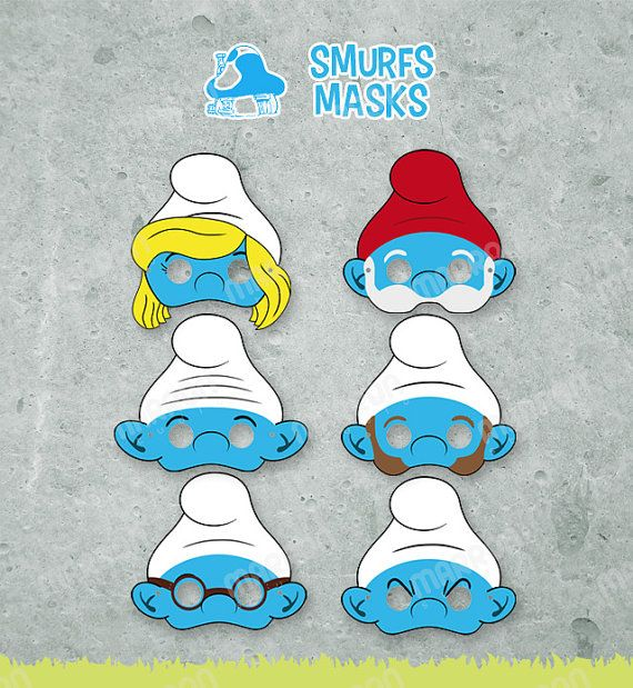 Smurfs party Inspired set masks, party props by elmarron, $8.99