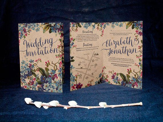 Vintage Forget-me-not style A6 Folded Wedding Invitation