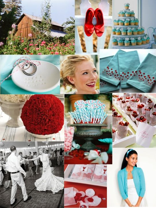 More awesome aqua and red color combination :). I just love the playfulness these colors evoke together!