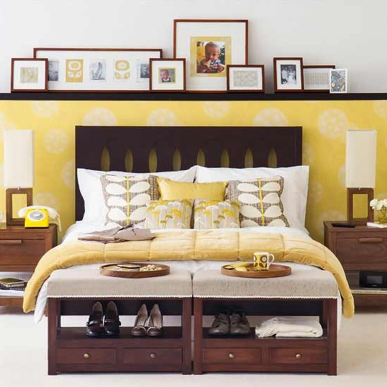 Perfect blend of yellow/gray/and natural wood furniture. Love the yellow lines in frames.