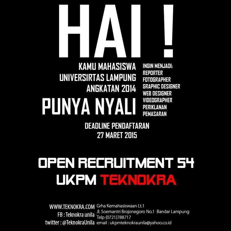 Open Rekrutmen Ke-54 UKPM Teknokra Universitas Lampung (Part2)